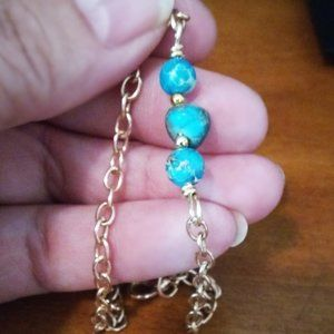 Fashionable Aqua Sea Sediment Jasper Bar Bracelet